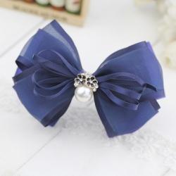 กิ๊บติดผมโบว์สีน้ำเงินแต่งดอกไม้มุกคริสตัล