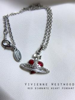 สร้อยคอ Vivienne Westwood Red Diamante Heart Pendant