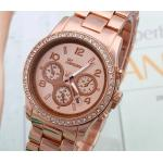 นาฬิกาข้อมือผู้หญิง สาย สแตนเลส สีทองกุหลาบ Rose Gold หน้าปัดฝังเพชร คริสตัล กันน้ำ หน้าปัดกลม คลาสสิค no 618352_2