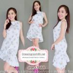 Dress3488-สีขาว ชุดเดรสทรงสวยต่อชายระบาย มีซิปหลังใส่ง่าย ผ้าไหมอิตาลีเกรดเอเนื้อหนาลายดอกเดซี่