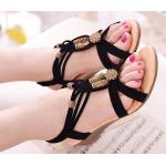 รองเท้าส้นแบน รองเท้าแฟชั่น ผู้หญิง ส้นแบน ด้านท้ายสูงเล็กน้อย สีดำ รองเท้าแบบมีสายรัดส้น สไตล์วินเทจ แต่ง ลูกปัด 843328