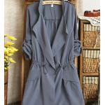 เสื้อคลุมผู้หญิง เสื้อกันหนาว ตัวยาว สไตล์ ยุโรป แขนยาว กำลังดี ใส่สบาย ดีไซน์เก๋ สีเทาอมฟ้า no 2732163_2