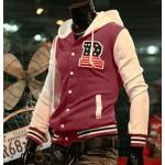 เสื้อ แจ็คเก็ต ผู้ชายแขนยาว มีฮู้ด ด้านหลัง เสื้อกันหนาว สไตล์ อเมริกัน แบบกระดุมหน้า มีกระเป๋า ด้านข้าง 2 ข้าง สีแดง แขนสีขาว 68043_2