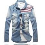 เสื้อเชิ้ตยีนส์ผู้ชาย เสื้อยีนส์แขนยาว ใส่เป็น Jacket ยีนส์ หรือ ใส่เป็น เสื้อนอก สไตล์ หนุ่มเกาหลี ผ้าเบาใส่ สบาย เสื้อขี่มอเตอร์ไซค์ 53488
