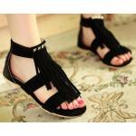 รองเท้าแฟชั่นส้นแบน รองเท้าแบบเปิดหน้าเท้า ดีไซน์ หนังกลับ ทำเป็นริ้ว ประดับคริสตัล ออกวินเทจ รองเท้าใส่เที่ยว สไตล์เกาหลี สีดำ 4048976