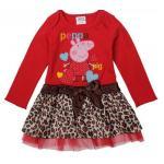 ชุดกระโปรงเด็กผู้หญิง เดรสเด็กผู้หญิง น่ารัก ๆ หมูน้อย peppa สีแดง กระโปรงระบาย สีน้ำตาล ลายเสือ 119794