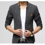 เสื้อสูท ผู้ชาย เสื้อ Jacket นอก แบบ Slim fit เข้ารูป แขนยาว ดีไซน์ ลาย ด้วยหนัง เพิ่มความ หรูหรา คลาสสิค สีเทา มีกระเป๋าด้านใน ใส่ได้ทุกงาน 322297_1