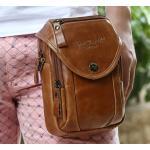 กระเป๋าคาดเอว หนังแท้ Oil wax กระเป๋าคาดเอว มีที่สอดเข็มขัด กระเป๋าคาดเอวผู้ชาย แนวตั้ง สไตล์วินเทจ 949689