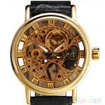 นาฬิกาโชว์กลไก นาฬิกาข้อมือเปลือย นาฬิกาข้อมือผู้ชาย แบบโชว์กลไก สีทอง สายหนังสีดำ สินค้านำเข้า ราคาพิเศษ no 87354