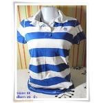 #155006 Used เสื้อยืด คอปก ผู้หญิง ขาวสลับน้ำเงิน กะลาสี