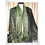 ผ้าพันคอ ผ้าไหมแท้ Fendi สีเขียว