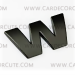 สติกเกอร์โลโก้ตัวอักษรโลหะ 3D - W