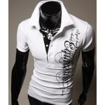 เสื้อยืดผู้ชาย เสื้อคอปก แบบพอดีตัว Slim fit แบบสวย สีขาว เสื้อยืดแฟชั่น ผู้ชาย ลายเพ้นท์ เท่ ๆ มี Detail แขนเสื้อ คนละสี ราคาถูก 204122_2