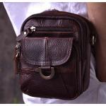 กระเป๋าคาดเอว ผู้ชาย กระเป๋าหนังแท้ สีน้ำตาล มีที่ร้อยเข็มขัด พร้อมสายสะพาย กระเป๋าหนังแท้ แบบคาดเอวได้ 848015