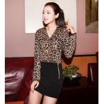 เสื้อเชิ้ตผู้หญิง ผ้า ชีฟอง แขนยาว เสื้อเชิ้ตใส่ทำงาน ลายเสือ สีน้ำตาล no 2159868_1