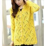 เสื้อไหมพรมถัก ตัวยาว แขนยาว สามารถใส่เป็น ชุดคลุมใน office ได้ สวยเก๋ ชุดคลุม แบบไฮโซ เสื้อกันหนาว สีเหลือง no 562327_5