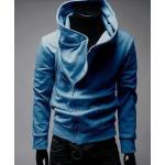เสื้อกันหนาวผู้ชาย เสื้อคลุมผู้ชายแขนยาว ผ้า cotton อย่างหนา ใส่สบาย ดีไซน์คอตั้ง แบบเท่ สีฟ้า ราคาถูก 78737_2