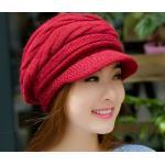 หมวกแฟชั่น หมวกไหมพรมถัก สำหรับผู้หญิง หมวกไหมพรม ใส่เที่ยว ใส่กันแดด กันร้อน สวยใส สไตล์วัยรุ่น สีแดงเข้ม 92518_1