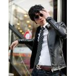 เสื้อ Jacket ผู้ชาย แจ๊คเก็ตหนัง แบบพอดีตัว Slim fit แขนยาว เสื้อคลุมหนัง ใส่ในออฟฟิต ทำงาน ได้แบบเท่ ๆ สีดำ 92047