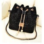 กระเป๋าสะพายข้าง ขนาดกลาง ทรงถุงหูรูด กระเป๋าสะพายผู้หญิง แบบเก๋ ผ้าแคนวาส แฟชั่น ไฮโซ สีดำ เม็ดระยิบระยับ no 263739_1