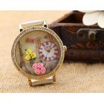 นาฬิกาข้อมือผู้หญิง สายหนัง สีขาว นาฬิกา diy แต่งดิสเพลย์ ด้านใน จำลอง หอไอเฟล และ แต่งดอกไม้ นาฬิกา แฟชั่น คอสตูม 18030