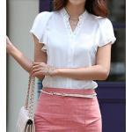 เสื้อใส่ทำงาน ผู้หญิง เนื้อผ้าซีฟอง ปักมุข ที่คอ แขนเป็นระบาย เสื้อเชิ้ต สีขาว ราคาถูก no 68369