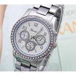 นาฬิกาข้อมือผู้หญิง สาย สแตนเลส สีเงิน หน้าปัดฝังเพชร คริสตัล กันน้ำ หน้าปัดกลม คลาสสิค no 618352