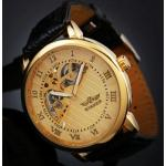 นาฬิกาข้อมือผู้ชาย แบบ โชว์กลไก ด้านใน นาฬิกาข้อมือเปลือย Mechanical watch สายหนัง หน้าปัดสีทอง ลายไม้ no 10996_1