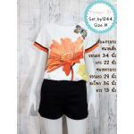 Set_bp1246-Size-M ชุดเซ็ท 2 ชิ้น(เสื้อ+กางเกง)แยกชิ้น เสื้อแขนสั้นพิมพ์ลายผีเสื้อดอกไม้โทนสีขาวส้ม+กางเกงขาสั้นสีดำผ้าคอตตอนเนื้อหนา