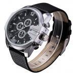 นาฬิกาข้อมือ ผู้ชาย สายหนังแท้ แนว Sport แบบเท่ ใส่ได้ตลอดเวลา สายสีดำ หน้าปัดดำ เหมาะสำหรับ หนุ่มมาดเท่ ของขวัญให้แฟน ยอดนิยม 718005