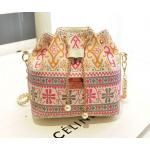 กระเป๋าสะพายข้าง ขนาดกลาง ทรงถุงหูรูด กระเป๋าสะพายผู้หญิง แบบเก๋ ผ้าแคนวาส แฟชั่น ไฮโซ ลายไทย ดอกไม้ ชมพู ส้ม ผสมเทา no 263739_5