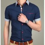 เสื้อเชิ้ตแขนสั้น เสื้อเชิ้ตผู้ชาย ใส่ทำงาน แบบมีสไตล์ เสื้อเชิ้ตแฟชั่น เสื้อคอปก ดีไซน์ กระดุม 2 สี มีกระเป๋าหน้า คอปก และ แขนลายทาง สีน้ำเงินเข้ม 63196_2