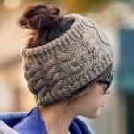 หมวกไหมพรม แบบที่คาดหัว Hand made สีเทา