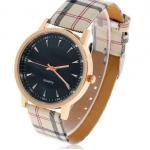นาฬิกาข้อมือผู้หญิง สายหนัง ลายสก๊อต กันน้ำ หน้าปัด สีเงิน สีขาว และ สีดำ no 534148