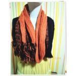 ผ้าพันคอไหมพรมถัก โทนสีน้ำตาลส้ม s001