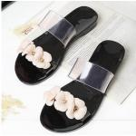 รองเท้าแฟชั่น ผู้หญิง รองเท้าแตะ ส้นเตี้ย รองเท้าแตะ แบบเงา ๆ สีดำ รองเท้าผู้หญิง ใส่เที่ยว แต่งดอกไม้ เก๋ ๆ ใส่สบาย 649202