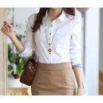 เสื้อเชิ้ตผู้หญิง เสื้อเชิ้ิตแขนยาว ใส่ทำงาน ดีไซน์ เพิ่มความสวยเก๋ พับแขนเป็นลายสก๊อต ปกด้านใน ลายสก๊อต เสื้อเชิ้ต สีขาว แบบสวย ๆ 670211
