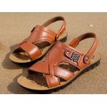 รองเท้าผู้ชาย รองเท้าแบบรัดส้น รองเท้า ใส่เที่ยว รองเท้าเดินทาง เปิดเท้า ระบายอากาศ ใส่สบาย รองเท้าแตะหนัง สีน้ำตาลอ่อน แบบผู้ใหญ่ 488409_2
