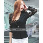 เสื้อ แจ็คเก็ต แฟชั่น แบบ สูท เสื้อคลุมแขนยาว ผ้าลูกไม้ สุดหรู ในราคาประหยัด เสื้อสูท สีดำ no 72689_2