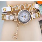 นาฬิกาข้อมือผู้หญิง สายหนัง ห้อย ตุ้งติ้ง หอไอเฟล ประดับ อักษร Love ฝังคริสตัล เพชร สีขาว no 3851049_2