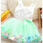 ชุดกระโปรงเด็กผู้หญิง อายุ 6 - 24 เดือน เดรสเด็กผู้หญิง สีเขียวอ่อน ใส่ ๆ กระโปรงทรงพอง เสื้อแขนกุด ปักกุหลาบขาว ใส่ไปงาน น่ารัก 785574_3