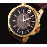 นาฬิกาข้อมือผู้ชาย สายหนังแท้ สายสีน้ำตาล หน้าปัด สีขาว และ สีดำ มีระบบวันที่ นาฬิกา ระบบอนาล๊อค ของขวัญให้แฟนสุดหรู no 438004