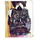 กระเป๋าสะพายหลัง กระเป๋าเป้ ขนาดกลาง แบบวัยรุ่น ผู้หญิง น่ารัก ๆ กระเป๋าสะพาย ใส่ของกระจุกจิก สะพายเที่ยว สีน้ำตาลเข้ม ลายดอกไม้ KP305