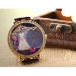 นาฬิกาข้อมือผู้หญิง นาฬิกา diy แต่งไอคอน ด้านใน เป็น ชุดเดรส สีขาว ชุดแต่งงาน สายหนังสีน้ำตาล สวยเก๋ นาฬิกาข้อมือ 3 มิติ ฝังคริสตัล เพชร 18098