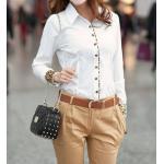 เสื้อเชิ้ตผู้หญิง เสื้อเชิ้ิตแขนยาว เสื้อเชิ้ตใส่ทำงาน แขนยาว พับด้านใน เป็นลายเสือ เพิ่มสีสันให้ เสื้อสีขาว ดูโดดเด่น แบบสวย ไม่ซ้ำใคร 134029