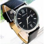 นาฬิกาข้อมือ ผู้ชาย สายหนังแท้ สีดำ โชว์ลายหนัง ดีไซน์ หน้าปัด บางเฉียบ พร้อมระบบ Calendar หน้าปัด สีดำ ทรงกลม สำหรับ ผู้ชาย มาดเข้ม สวยหรู 749893