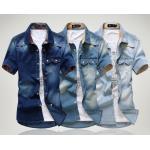เสื้อเชิ้ตยีนส์ ผู้ชาย เสื้อยีนส์ แขนสั้น ผ้าบาง ใส่หน้าร้อนได้ เสื้อยีนส์ แบบเชิ้ต สีเข้ม สีอ่อน แขนมีลาย กระเป๋าคู่ เท่ ๆ 945357_1