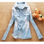 เสื้อยีนส์ เสื้อเชิ้ตผู้หญิง แขนยาว ใส่เป็น เสื้อคลุม หรือ เสื้อแจ็คเก็ต ได้ สียีนส์ฟ้าอ่อน แนวเซอร์ ๆ สาวเท่ กระดุมหน้า เสื้อยีนส์ ใส่เที่ยว ใส่ทำงาน 465965_1