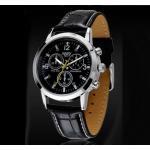 นาฬิกาข้อมือ ผู้ชาย สายหนังแท้ สายสีดำ หน้าปัดกลม สีดำ คลาสสิค สำหรับ ผู้ชายมาดเข้ม ของขวัญให้แฟน สุดหรู นาฬิกาสายหนัง สวย ๆ 181477