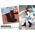 รองเท้าบูทผู้หญิง แบบข้อไม่สูงมาก หนังกำมะหยี่ รองเท้าบูทใส่เที่ยว ต่างประเทศราคาถูก ติดเหล็กที่ส้นเท้า เพิ่มความเก๋ สีน้ำตาลเข้ม ขายดี 783019_2